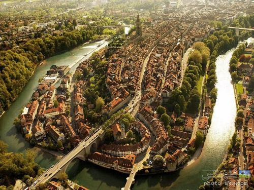 عکس هوایی دیدنی از شهر برن در سوتزرلند