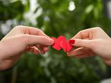 دست عاشقانه زن و مرد با قلب
